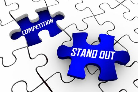Stand Out From Competition Puzzle Pieces Win Positive Unique Confidence 3d Illustration Фото со стока