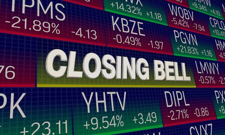 Closing Bell Stock Market Exchange Share Prices Final Results 3d Illustration