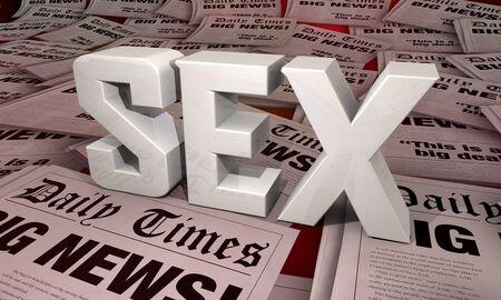 Sex Newspaper Headlines Scandal Big News Affairs 3d Illustration