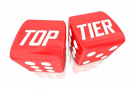 Top Tier Dice Rolling Meilleur Choix Gagnant Niveau 3d Illustration