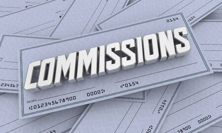 Commission Checks Incentive Payments Income Money 3d Illustration