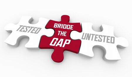 Tested Untested Bridge the Gap Puzzle Health Care Checks 3d Illustration