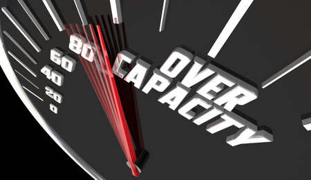 Over Capacity Sold Out Full No More Room Speedometer Measurement 3d Illustration