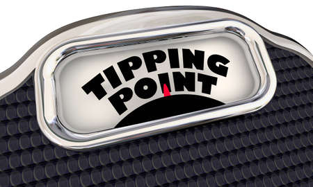 Tipping Point Scale Final Trigger Point Level Amount Words 3d Illustration Archivio Fotografico