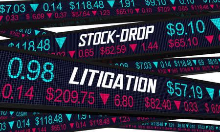 Stock-Drop Litigation Shareholder Loss Lawsuit Case Ticker 3d Illustration Archivio Fotografico