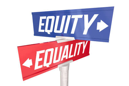 Equity Equality Two Way Road Street Signs Justice Fairness Opportunity 3d Illustration