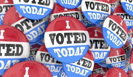 I Voted Today Buttons Pins Voting Election Democracy Pride 3d Illustration