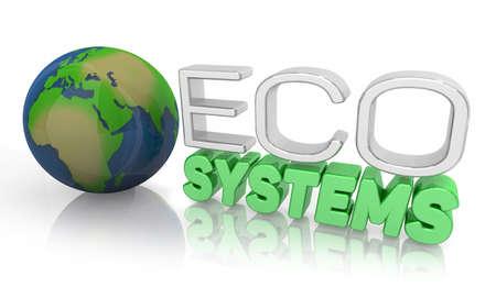 Ecosystems Global Environment Life Ecology Balance Words 3d Illustration