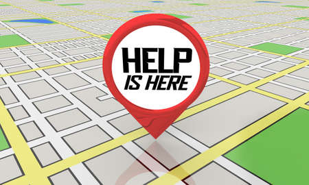 Help is Here Map Pin Location Get Assistance Support 3d Illustration Banque d'images
