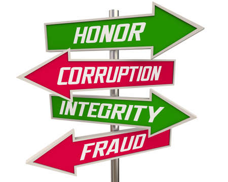 Honor Vs Corruption Integrity Over Fraud Arrow Signs Best Reputation Character Traits 3d Illustration Banque d'images