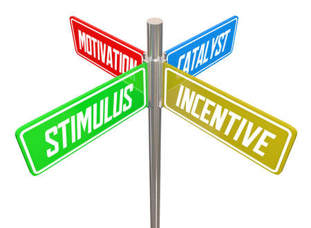 Stimulus Incentive Motivation Street SIgns Economic Boost 3d Illustration
