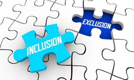Inclusion Vs Exclusion Participate Join Diversity Puzzle Pieces 3d Illustration Banque d'images