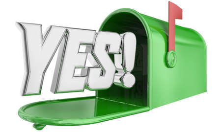 Yes Mailbox Message Delivery Answer Response Approval 3d Illustration 版權商用圖片