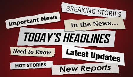Todays Headlines Stories Hot News Breaking Updates 3d Illustration Banque d'images