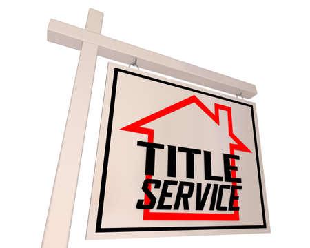 Title Service Home House Sold For Sale Sign Closing Real Estate 3d Illustration Banque d'images