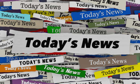 Todays News Headlines Hot Breaking Stories Updates 3d Illustration Banque d'images
