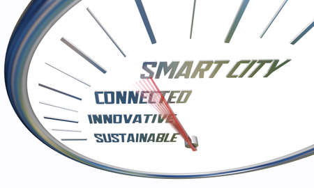 Smart City Mobility Speedometer Connected Innovative Sustainable 3d Illustration