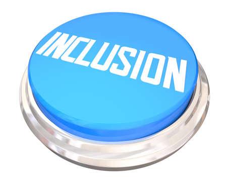 Inclusion Button Diversity Appreciation Engagement Participation 3d Illustration Banque d'images