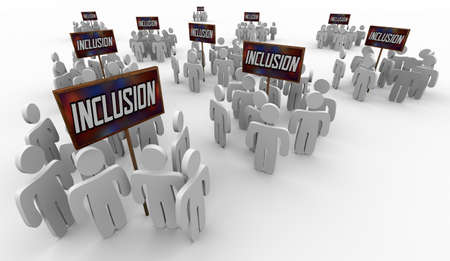 Inclusion Welcome People Groups Employees Teams Participate Diversity 3d Illustration Banque d'images