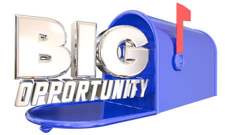 Big Opportunity Mailbox Chance Offer Proposal Delivery 3d Illustration Banque d'images
