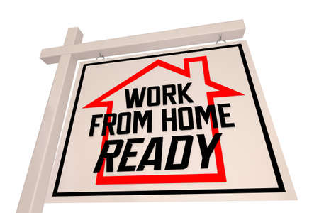 Work From Home Ready House Home For Sale Sign Remote Working 3d Illustration
