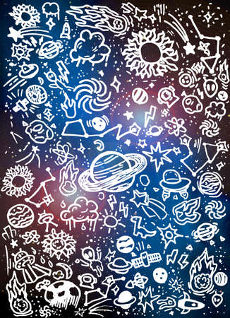 Outer Space Drawings Doodles Kid Child Artwork Background Illustration