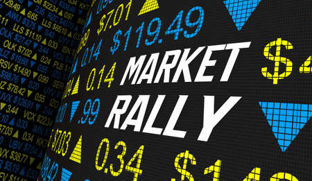Market Rally Stock Share Prices Increase Higher Wave Trend 3d Illustration