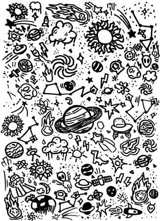 Galaxy Planets Outer Space Child Drawings Doodles Background Illustration Banque d'images