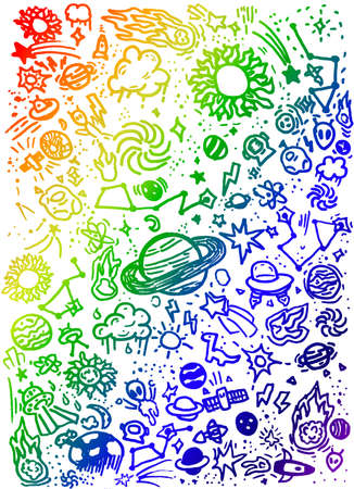 Colorful Outer Space Planets Universe Child Drawing Kid Doodles Background Illustration Banque d'images