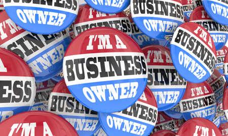 Im A Business Owner Entrepreneur Buttons Company Franchise Ownership 3d Illustration