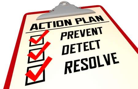 Prevent Detect Resolve Checklist Steps Recovery Process 3d Illustration Banque d'images