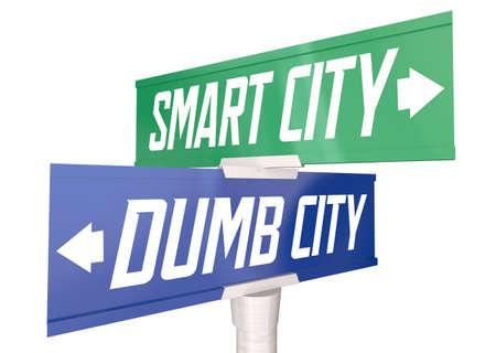 Smart Vs Dumb City Technology Mobility Innovation Community Direction Sign 3d Illustration Banque d'images