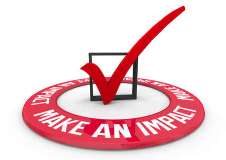 Make an Impact Difference Positive Change Check Mark Box 3d Illustration