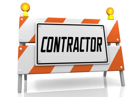 Contractor Construction Barricade Sign Hire Expert Worker Employee Job 3d Illustration