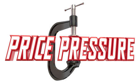 Price Pressure Clamp Vise Cost Reduction Squeeze Word 3d Illustration