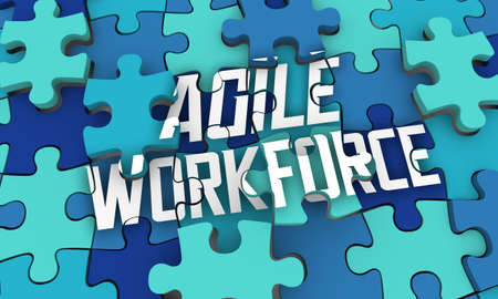 Agile Workforce Puzzle Scalable Flexible Employees Staff Model 3d Illustration