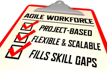 Agile Workforce Checklist Scalable Flexible Skills Employees 3d Illustration Banque d'images