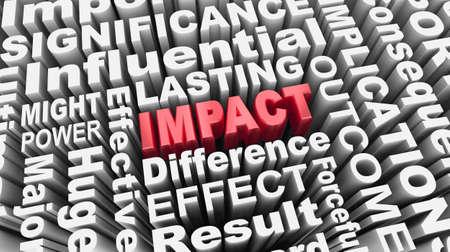 Impact Word Collage Big Huge Change Make Difference Result 3d Illustration Banque d'images