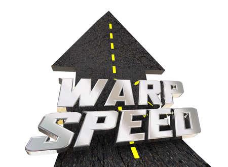 Warp Speed Road Travel Transportation Fast Quick 3d Illustration