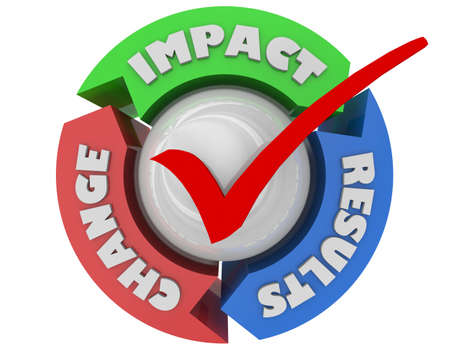 Impact Change Results Make Difference Check Mark Positive Effect 3d Illustration