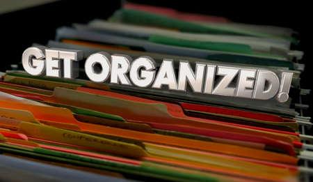 Get Organized Documents File Folder System Process Organization 3d Animation Banque d'images