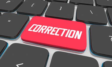 Correction Computer Keyboard Button Fix Error Correct Edit 3d Illustration