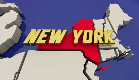 New York State Map United States America USA NYC Manhattan Render 3d Illustration Banque d'images