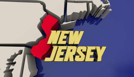 New Jersey Garden State Map United States America USA NJ Render 3d Illustration
