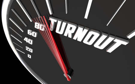 Turnout Rise Increase Attendance Participation Speedometer 3d Illustration