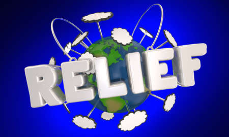 Relief Global International Support Help Campaign Activism Earth Word 3d Illustration Banque d'images