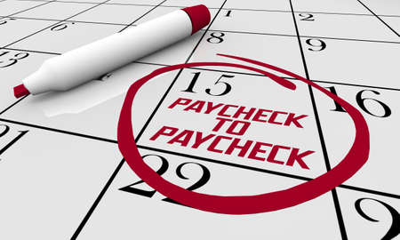 Paycheck to Paycheck Difficulty Paying Bills Budget Calendar 3d Illustration Banque d'images
