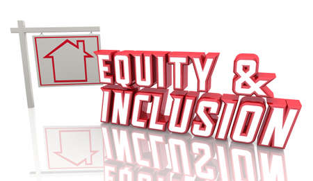 Equity and Inclusion Home Housing Policies For Sale Sign 3d Illustration Banque d'images