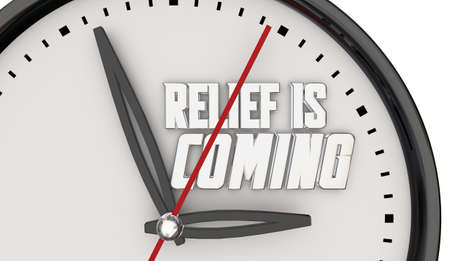 Relief is Coming Clock Help Support Time Assistance 3d Illustration Banque d'images