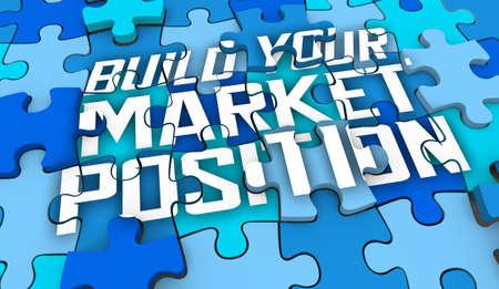 Build Your Market Position Puzzle Pieces Unique Competitive Advantage 3d Illustration Stockfoto